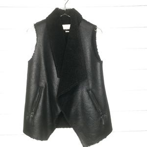 Michael Kors Faux Shearling Leather Vest Size XS